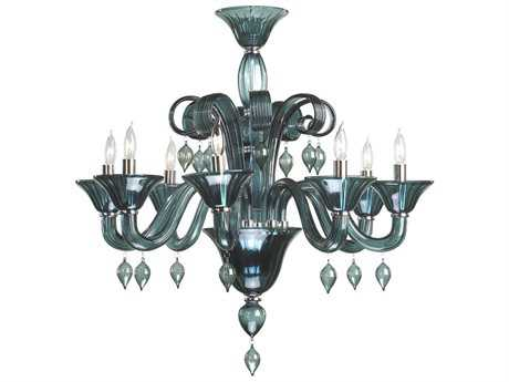 Cyan Design Treviso Chrome & Indigo Smoke Eight-Light 29'' Wide Chandelier