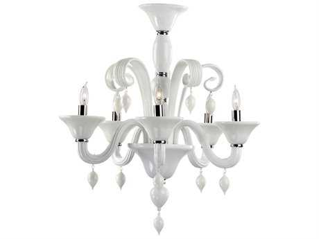 Cyan Design Treviso Chrome & White Five-Light 24'' Wide Chandelier