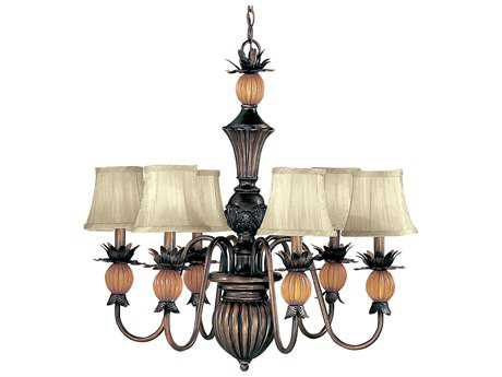 Classic Lighting Corporation Topaz Copper Bronze Six-Light 28'' Wide Chandelier