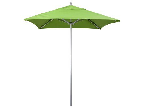 California Umbrella Rodeo Series 6 Foot Square Market Aluminum Umbrella with Push Lift System