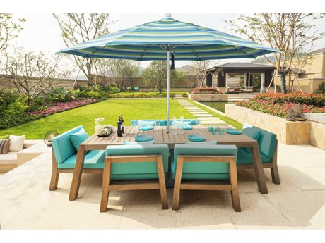 California Umbrella Venture Series 11 Foot Octagon Market Aluminum Umbrella with Pulley Lift System