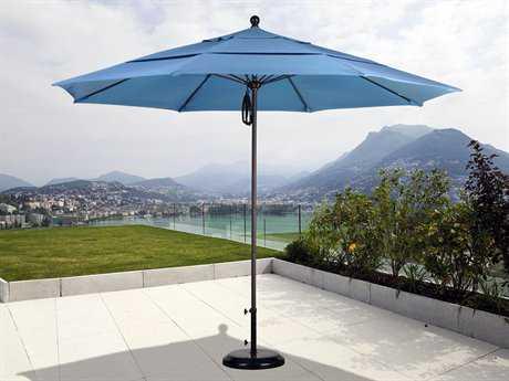 California Umbrella 11 Foot Round Market Aluminum Patio Umbrella with Pulley Lift System