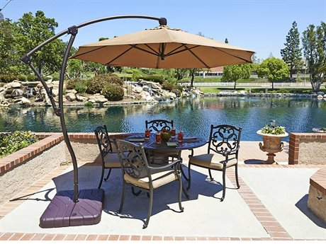 California Umbrella Bayside Series 9 Foot Octagon Cantilever Aluminum Umbrella with Crank Lift System PatioLiving