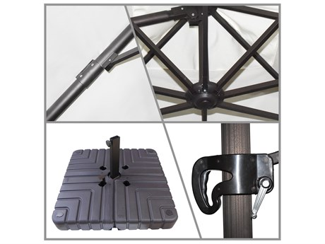 California Umbrella Cali Series 11 Foot Octagon Cantilever Aluminum Umbrella with Crank Lift System