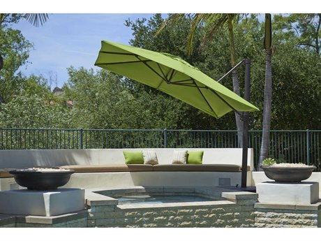 California Umbrella Cali Series 10 Foot Square Cantilever Aluminum Umbrella with Crank Lift System
