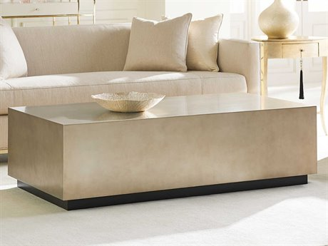 Caracole Classic Taupe Silver Leaf / Almost Black 60''W x 30''D Rectangular Cocktail Table CACCONCOCTAB009