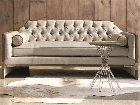 Caracole Classic Neutral Herringbone / Seagull Tufted Angular Sofa
