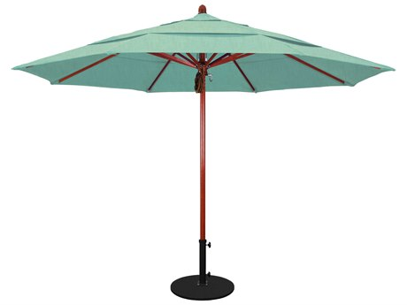 California Umbrella Sierra Series 11 Foot Octagon Market Wood Umbrella with Pulley Lift System