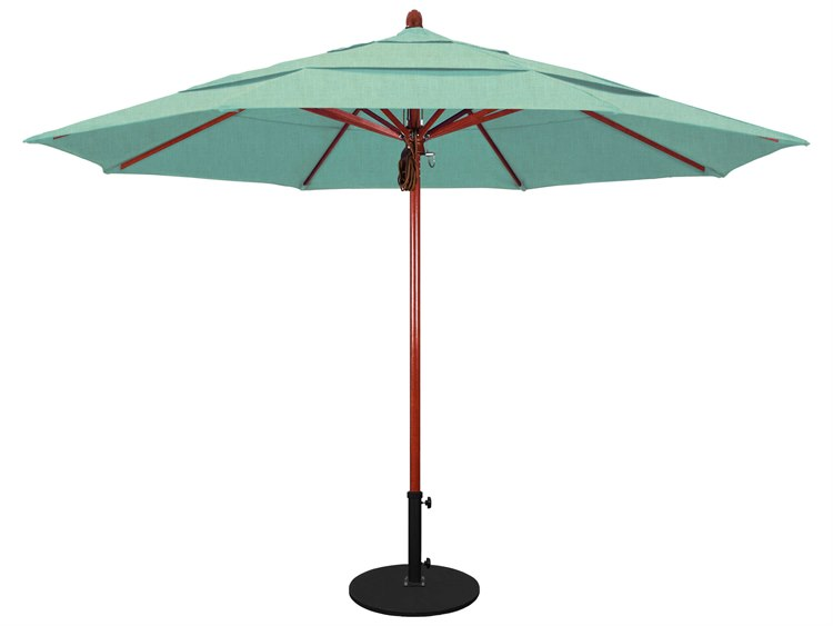 California Umbrella Sierra Series 11 Foot Octagon Market Wood Umbrella with Pulley Lift System PatioLiving