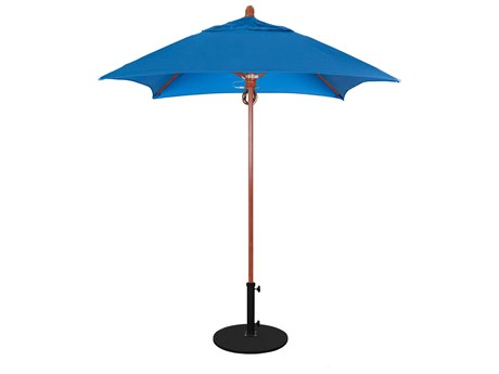 California Umbrella Sierra Series 6 Foot Square Market Wood Umbrella with Push Lift System CAFLEX604