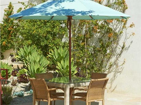 California Umbrella Sierra Series 9 Octagon Market Wood Umbrella with Push Lift System