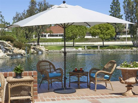California Umbrella Tahoe Series 11 Foot Rectangular Market Aluminum Umbrella with Crank Lift System