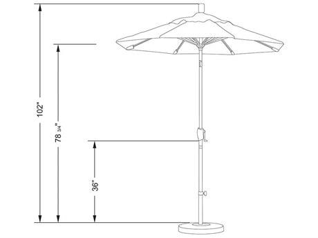 California Umbrella 6ft Aluminum Crank Lift Push Button Tilt Umbrella