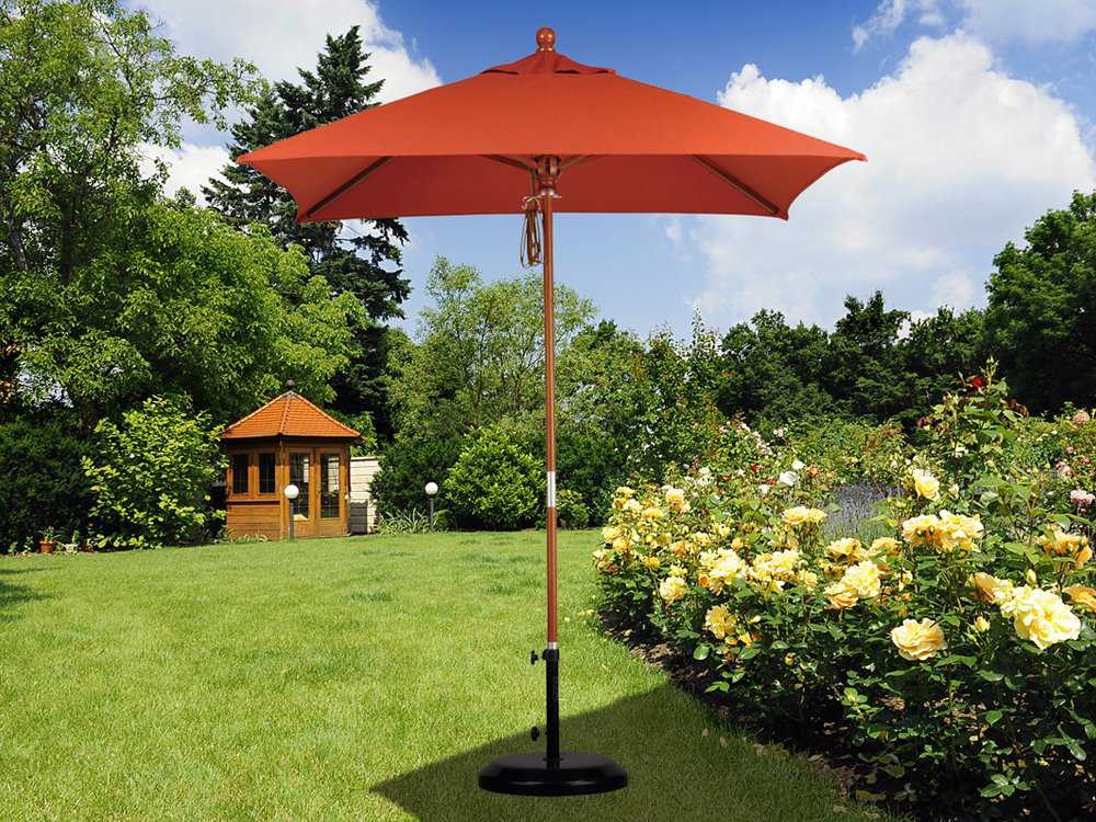 California umbrella 6 foot square wood patio umbrella for Patio table umbrella 6 foot