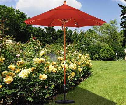 California Umbrella Wood Market 7 Feet Wide Pulley Lift No Tilt Patio Umbrella
