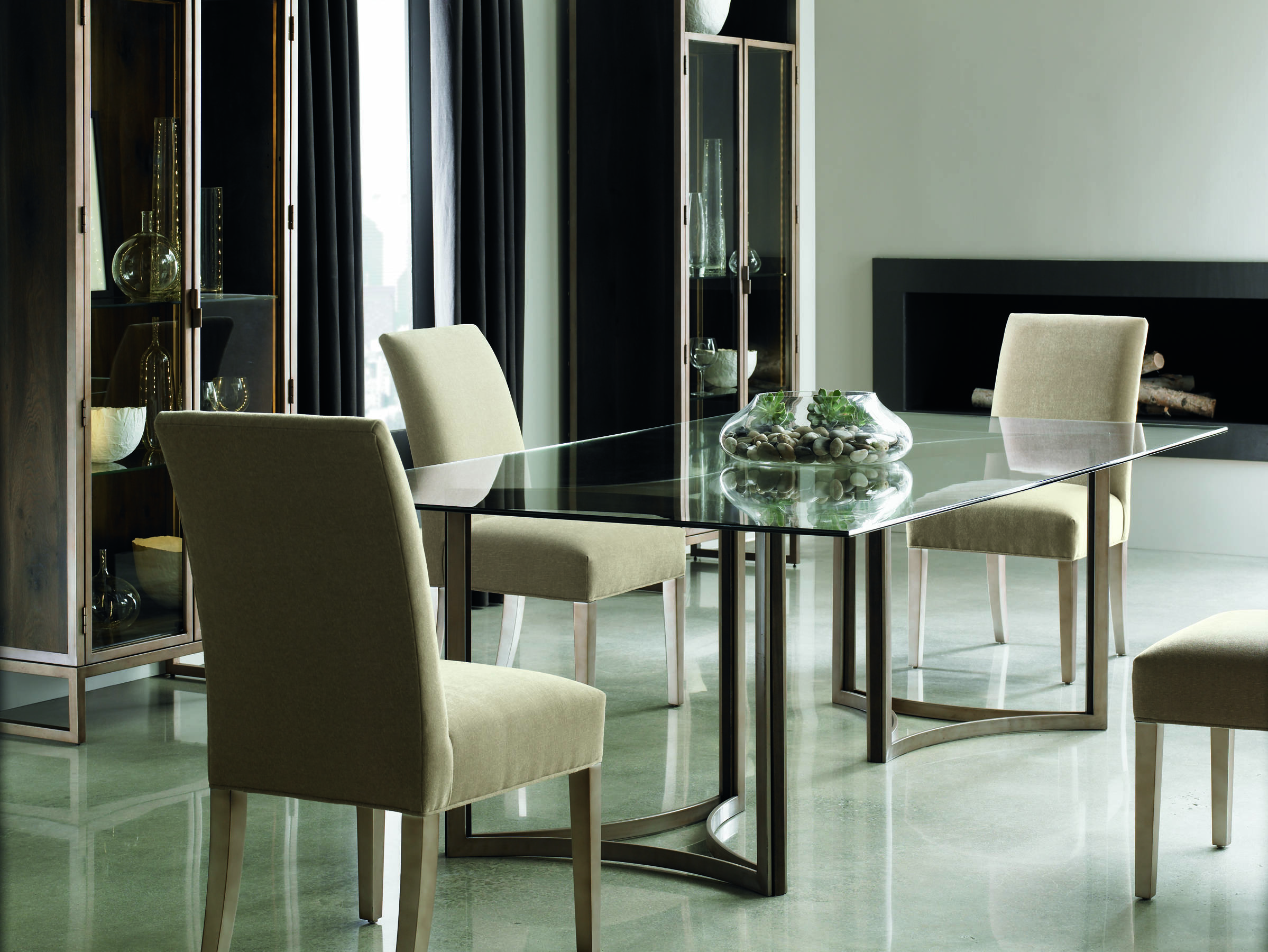 Dark Wood Finish Modern Dining Room W Optional Items: Caracole Modern Artisans Clear Glass With Matte Gold