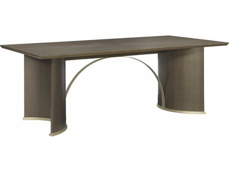 Caracole Modern Uptown Heathered Oak with Jazzy Taupe 84''W x 44''D Rectangular Trestle Dining Table CAMM012016207