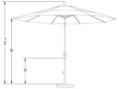 California Umbrella 11 Foot Aluminum Crank Lift Auto Tilt Umbrella