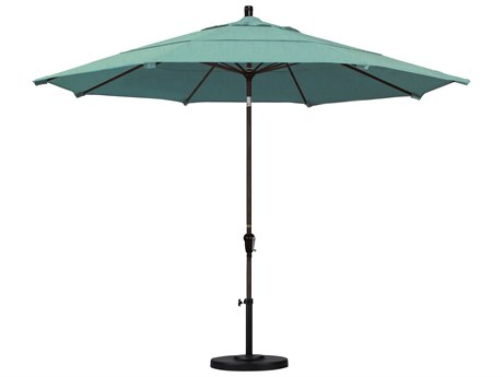 California Umbrella Sunset Series 11 Foot Octagon Market Aluminum Umbrella with Crank Lift System PatioLiving