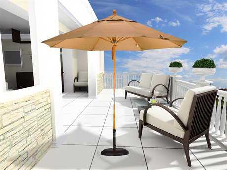 California Umbrella 9 Foot Round Wood Pulley Lift Patio Umbrella
