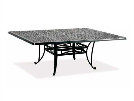 Cast Classics Opus Cast Aluminum 84 x 60 Rectangular Dining Table with Umbrella Hole CC1968460