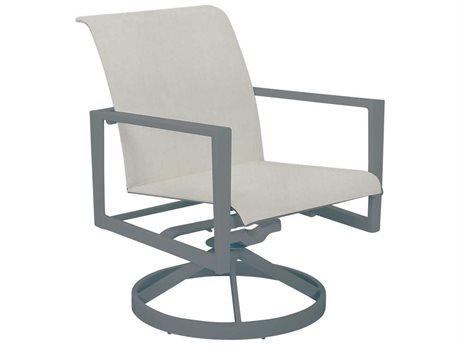 Cast Classics Vector Sling Cast Aluminum Swivel Rocker Dining Arm Chair PatioLiving