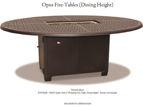 Cast Classics Opus Cast Aluminum 79 x 59 Super Oval LP Propane Dining Height Fire Pit Table
