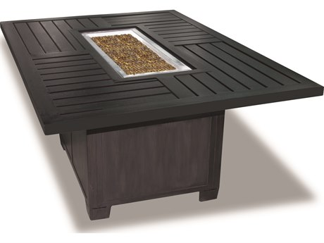 Cast Classics Kingsport Cast Aluminum 57 x 41 Rectangular LP Propane Firepit with Exeter Base PatioLiving