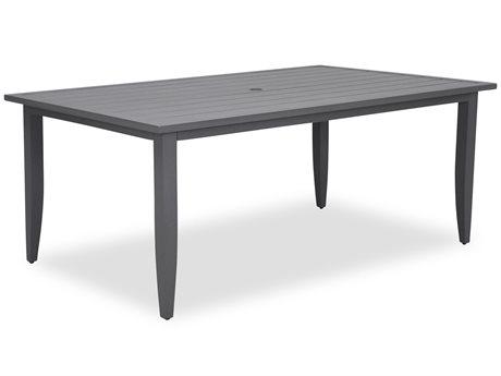 Cast Classics Westport Slat Top Cast Aluminum 72 x 45.2 Rectangular Dining Height Table with Umbrella Hole CC7527245D