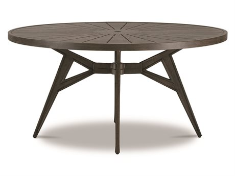 Cast Classics Solaire Cast Aluminum 48''Wide Round Dining Height Table with Umbrella Hole PatioLiving