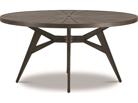 Cast Classics Solaire Cast Aluminum 60''Wide Round Dining Height Table with Umbrella Hole PatioLiving
