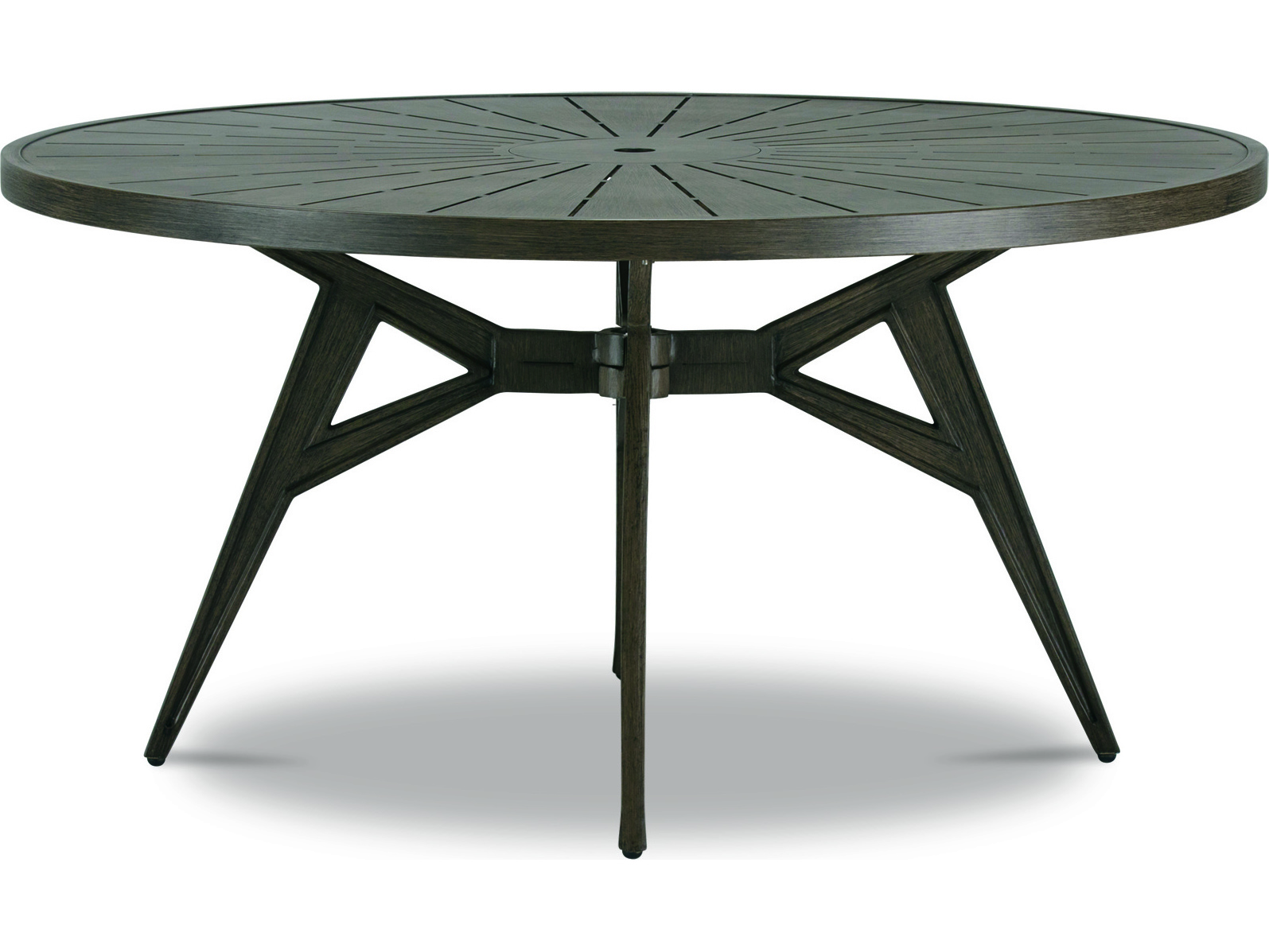 Cast Classics Solaire Cast Aluminum 60 Wide Round Dining Height Table With Umbrella Hole Cc7540060d