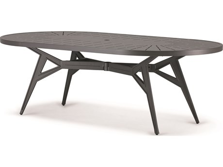 Cast Classics Solaire Cast Aluminum 90''W x 48''D Oval Dining Height Table with Umbrella Hole PatioLiving
