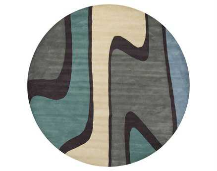 Chandra Bense Round Blue Area Rug