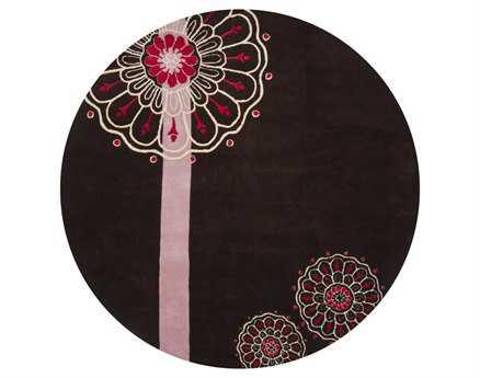 Chandra Dharma Round Black Area Rug