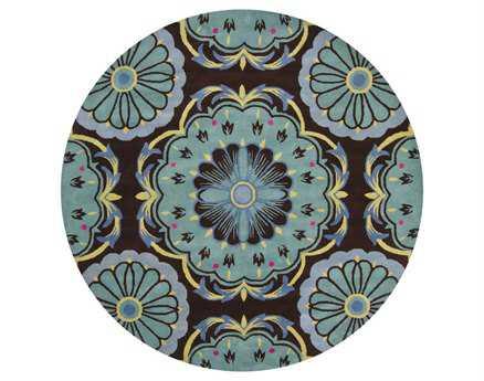 Chandra Dharma Round Blue Area Rug