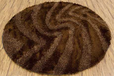 Chandra Fola Round Brown Area Rug