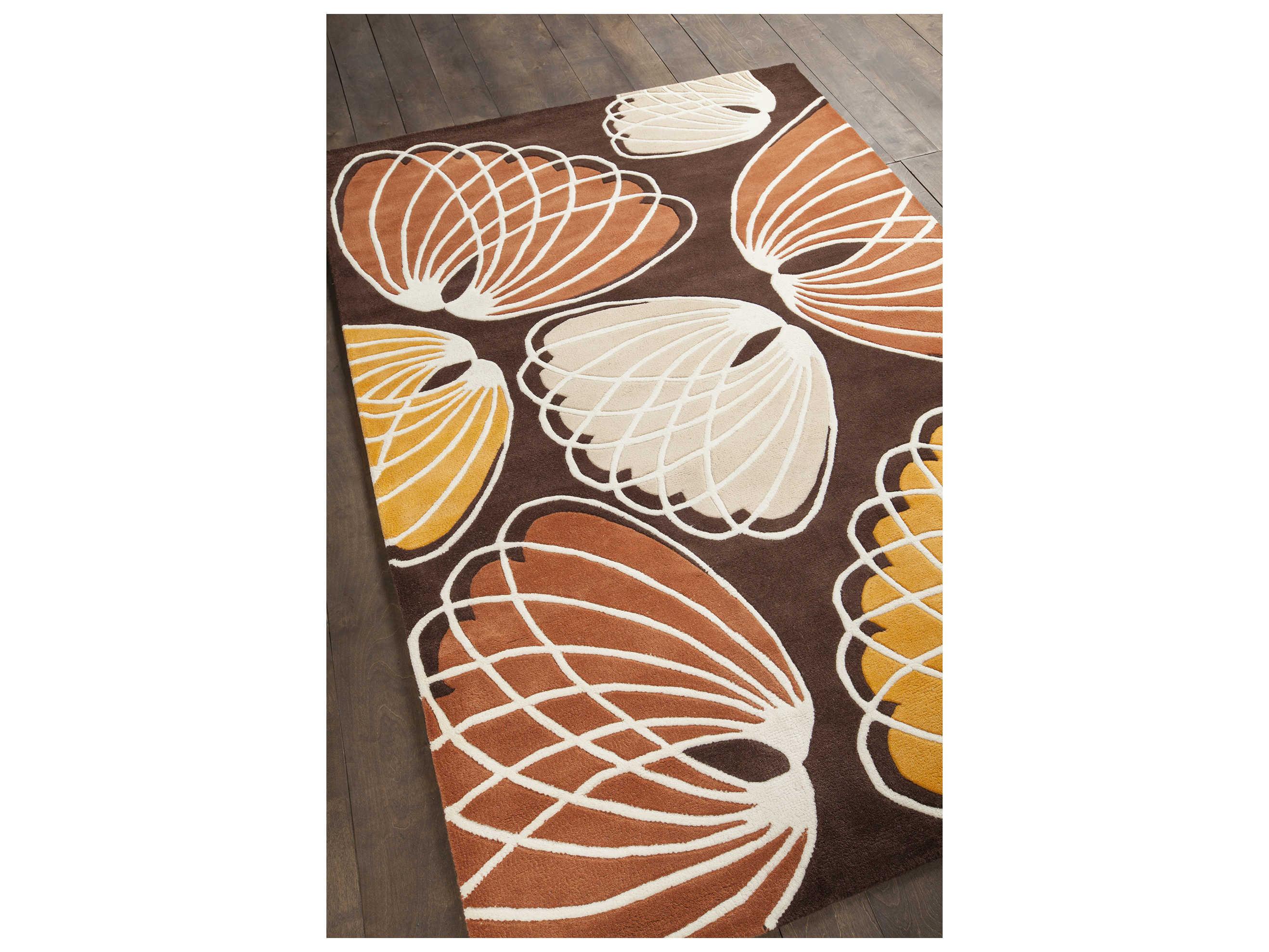 Chandra Inhabit Brown Orange White Peach Rectangular