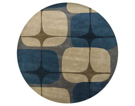 Chandra Kathryn Round Blue Area Rug
