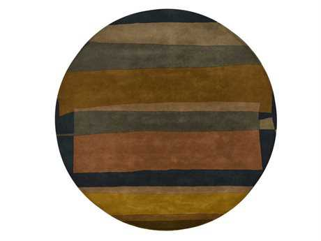 Chandra Kathryn Round Brown Area Rug