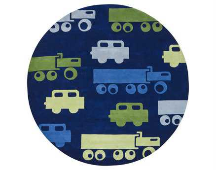 Chandra Kids Round Blue Area Rug