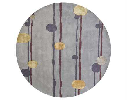 Chandra Lost Link Round Gray Area Rug