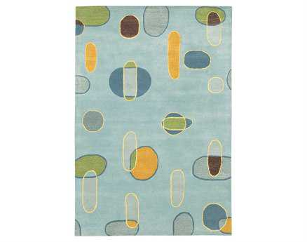 Chandra Lost Link Rectangular Blue Area Rug