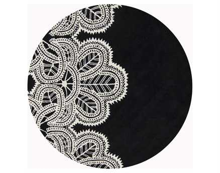 Chandra Taru Round Black Area Rug