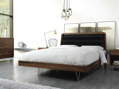 Copeland Furniture Canto Natural Walnut Platform Bed with Metal Legs
