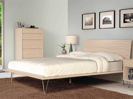 Copeland Furniture Wave Platform Bed with Metal Legs