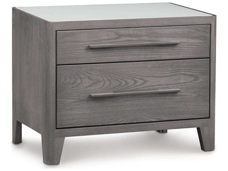 Copeland Furniture Surround 28''W x 18''D Rectangular Two-Drawer Nightstand with Glass Top