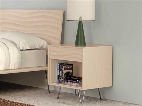 Copeland Furniture Wave 19''W x 18''D Rectangular One-Drawer Nightstand with Metal Legs