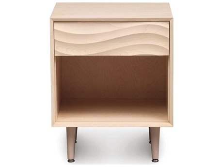 Copeland Furniture Wave 19''W x 18''D Rectangular One-Drawer Nightstand with Wood Legs