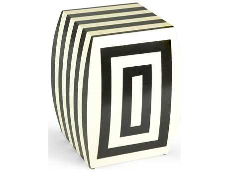 Chelsea House Mantis Black & Cream Accent Stool